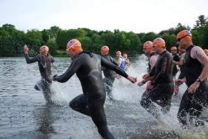 My age group swim start (me on far left)