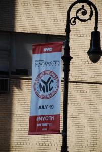 NYC triathlon banner on 72nd street